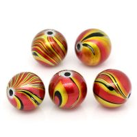 25 Red, Yellow & Black Patterned Acrylic Round Beads 14mm Hole: 2.5mm